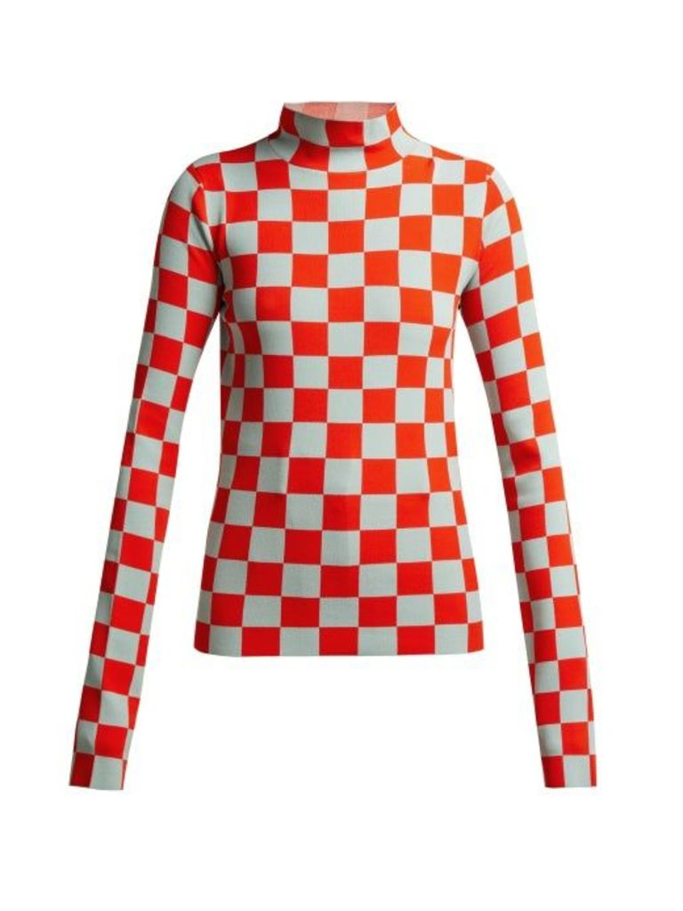 Jil Sander - High Neck Checked Jersey Top - Womens - Red Multi