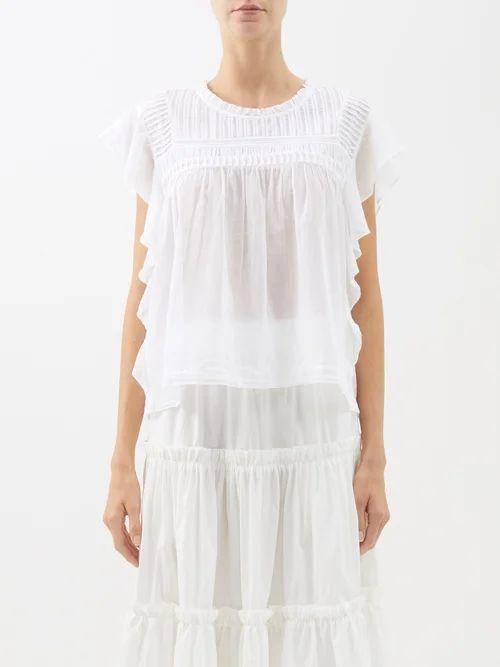 Ganni - Hawley Striped Cotton Blend Velour Top - Womens - Ivory