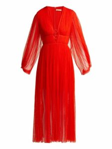 Maria Lucia Hohan - Astoria Deep V Neck Pleated Tulle Midi Dress - Womens - Red