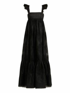 Valentino - Camellia Embroidered Cotton Blend Organdy Gown - Womens - Black