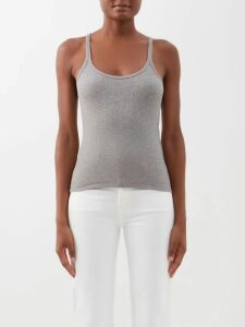 Rebecca De Ravenel - Dotty Print One Shoulder Silk Bustier Top - Womens - Red
