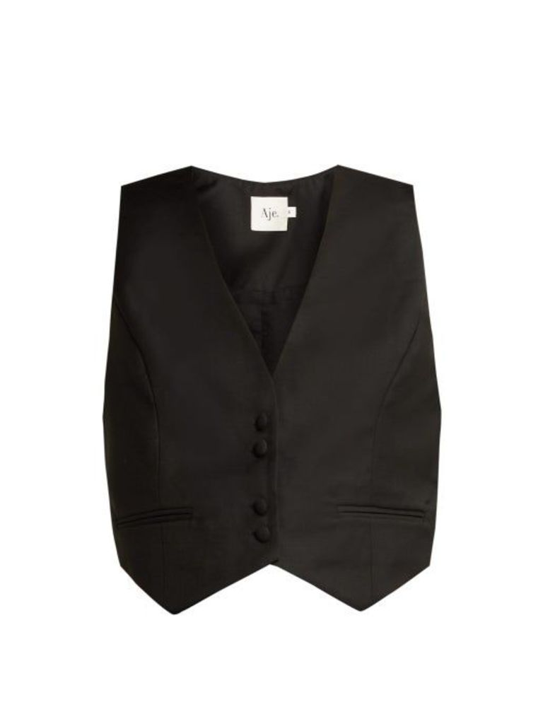 Aje - Stratford Slim Fit Wool Blend Waistcoat - Womens - Black