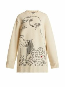 Calvin Klein 205w39nyc - Andy Warhol Print Wool Intarsia Sweatshirt - Womens - Ivory Multi