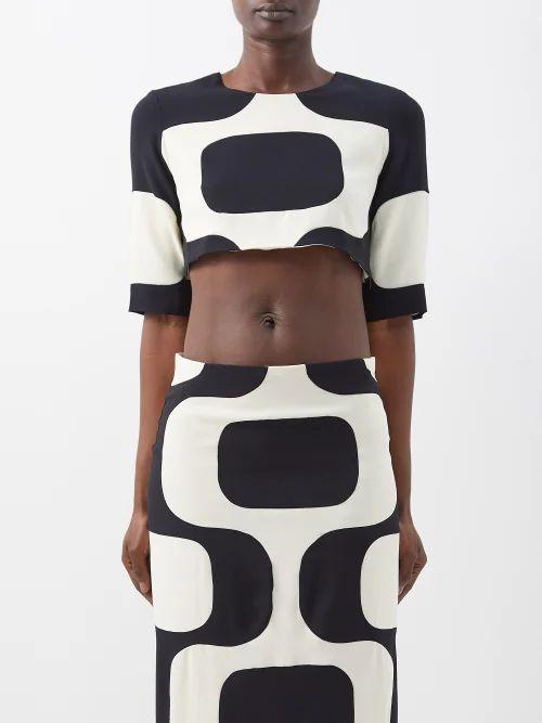 Preen Line - Ruffled Asymmetric Cotton Blend Pencil Skirt - Womens - Black