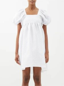 Ganni - Blakely Scarf Print Silk Blend Dress - Womens - White
