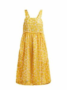 Shrimps - Lucia Sequinned Floral Midi Dress - Womens - Yellow