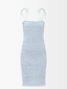 Preen By Thornton Bregazzi - Tracy Floral Print Ruched Crepe Jersey Skirt - Womens - Green Multi
