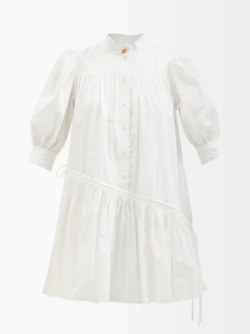 Tibi - Mendini Pleated Twill Midi Skirt - Womens - Blue