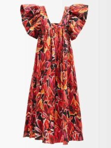 Tibi - Mendini Pleated Twill Midi Skirt - Womens - Blue