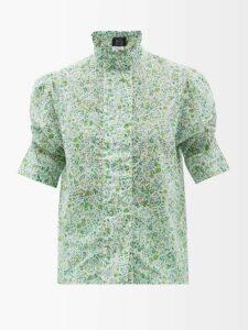 Brock Collection - Orchidea Floral Printed Taffeta Midi Skirt - Womens - Ivory Multi