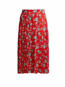 Vetements - Pleated Floral Print Crepe Midi Skirt - Womens - Red Multi