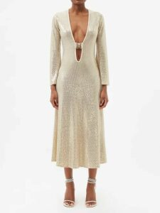 Tibi - Silk Faille Midi Skirt - Womens - Navy