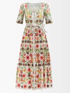 Valentino - Pleated Midi Skirt - Womens - Navy Multi