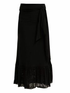Ganni - Polka Dot Tiered Stretch Mesh Skirt - Womens - Black