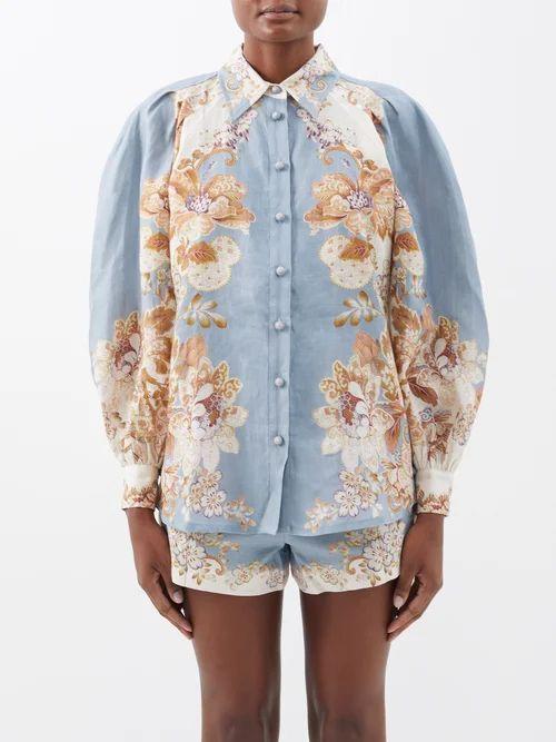 Altuzarra - Landscape Print Silk Chiffon Midi Skirt - Womens - Blue Multi