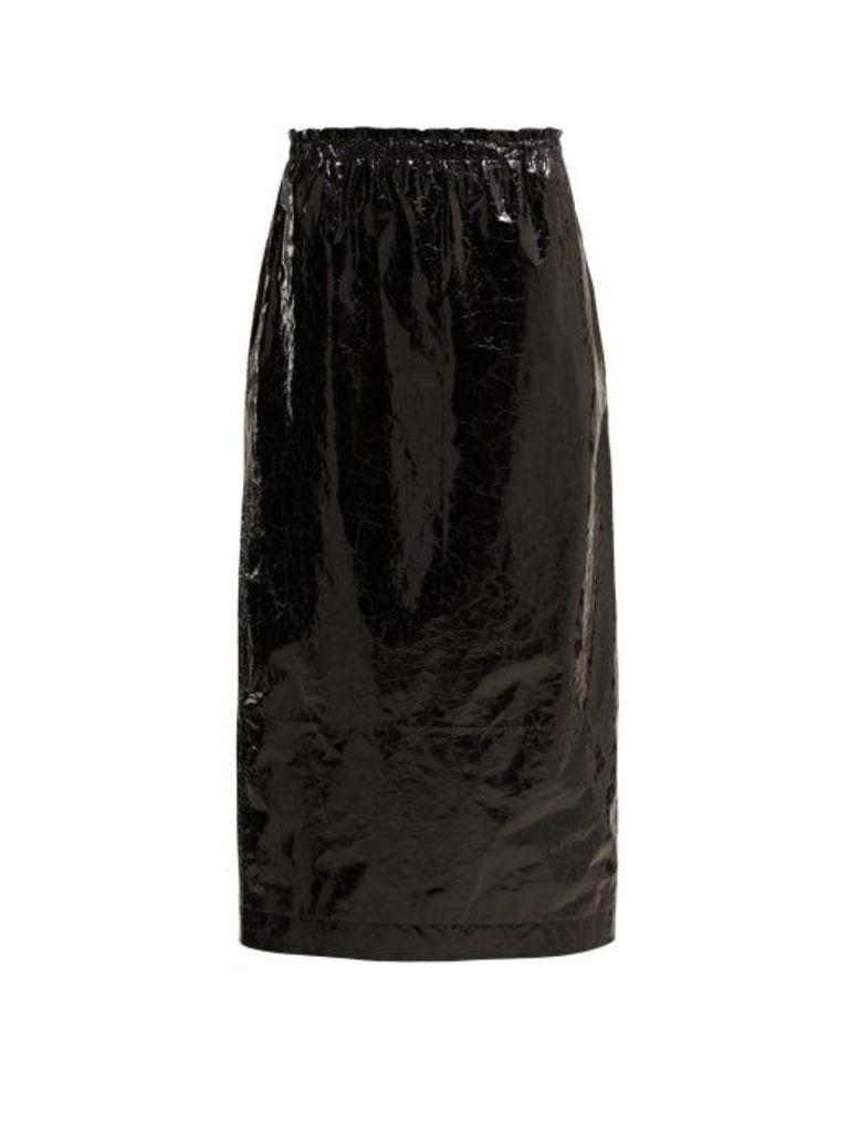 Raey - Elasticated Waist Crinkled Leather Skirt - Womens - Black