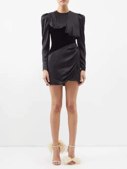 Chloé - Panelled Silk Crepe De Chine Midi Dress - Womens - Brown Navy