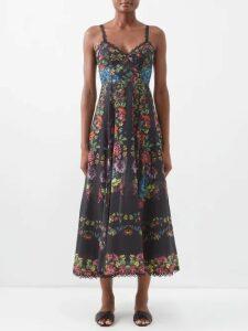 Diane Von Furstenberg - Forrest Organza And Lace Midi Dress - Womens - Black Navy