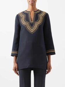 Valentino - Optical Print Wrap Shirtdress - Womens - Navy Print