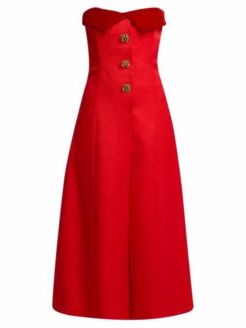 Rebecca De Ravenel - Strapless Silk And Wool Blend Midi Dress - Womens - Red