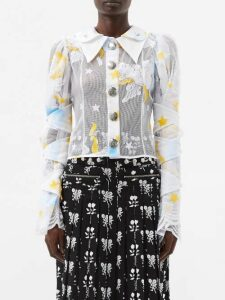 Proenza Schouler - Floral Print Crepe Midi Dress - Womens - Black Multi