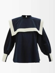 Temperley London - Polka Dot Cotton Blend Midi Dress - Womens - White Black