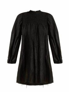 Marques'almeida - Smocked Long Sleeved Mini Dress - Womens - Black