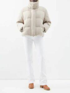 Prada - Belted Denim Mini Skirt - Womens - Denim