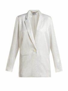 Adriana Iglesias - Single Breasted Silk Jacquard Blazer - Womens - White