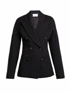 Raey - Double Breasted Waisted Wool Blend Blazer - Womens - Navy