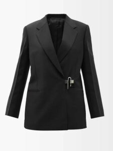 Ganni - Hewitt Double Breasted Pinstripe Blazer - Womens - Navy
