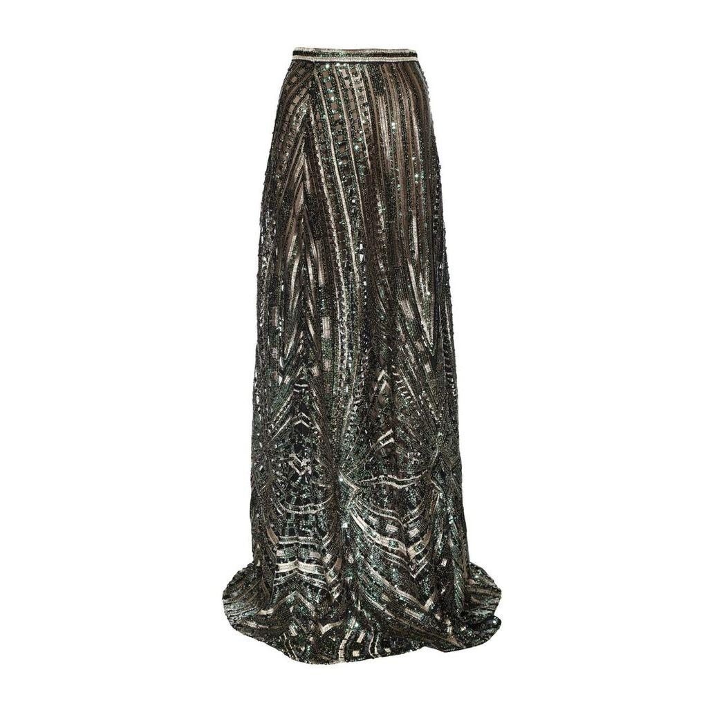 JIRI KALFAR - Green & Gold Sequin Skirt With Slit