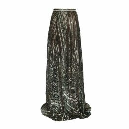 JIRI KALFAR - Green & Gold Sequin Skirt With Slit