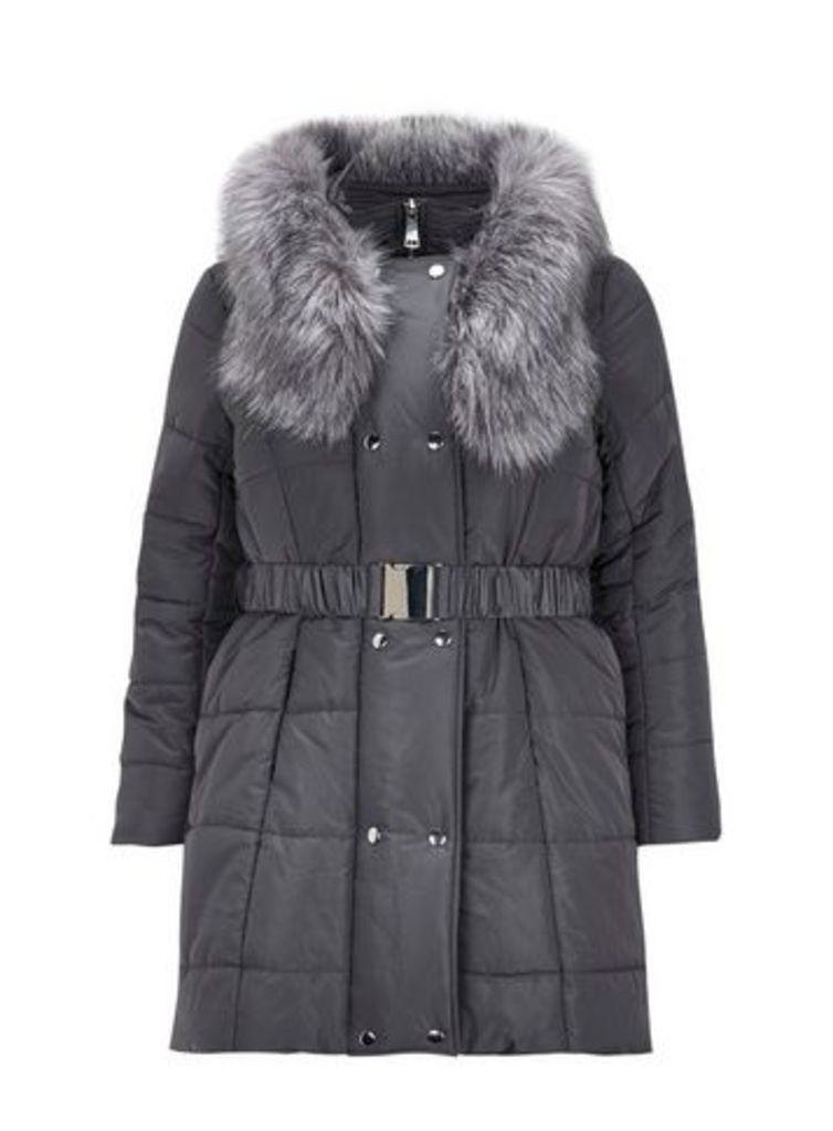 Grey Faux Fur Belted Padded Coat, Grey