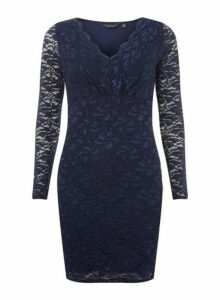 Womens **Navy Glitter Lace Bodycon Dress- Blue, Blue