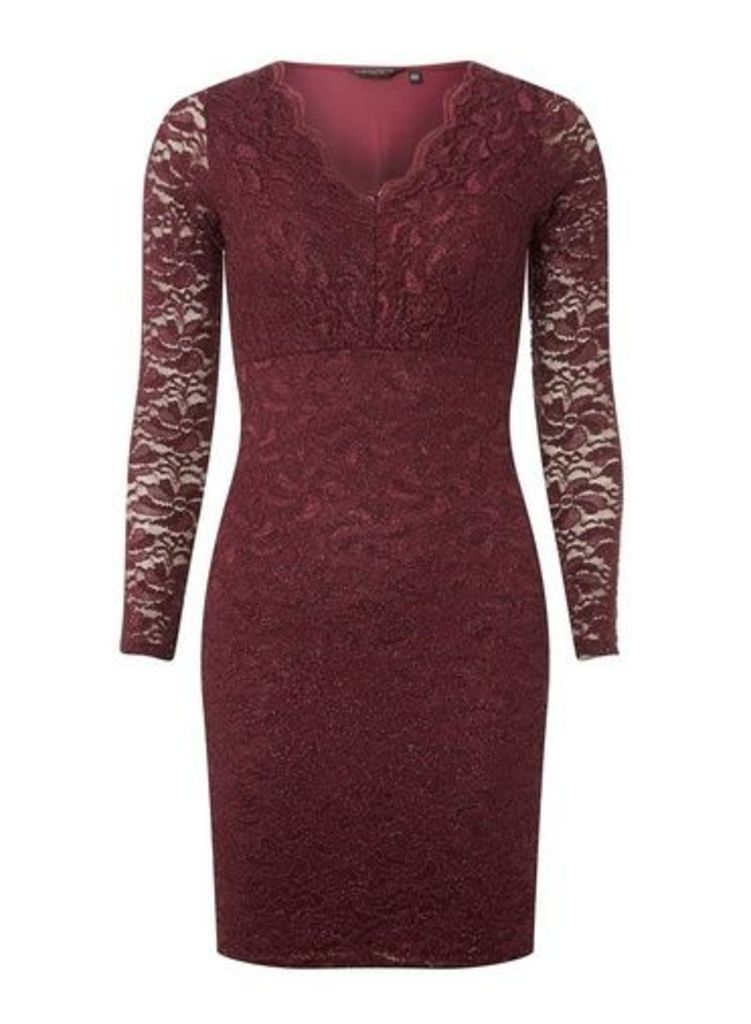Womens **Burgundy Glitter Lace Bodycon Dress- Purple, Purple