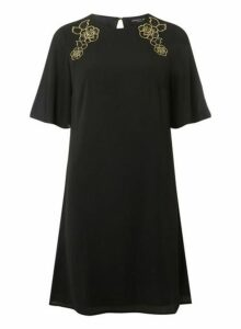 Womens **Black Embroidered Shoulder Shift Dress- Black, Black