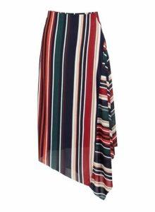 Womens *Izabel London Multi Colour Striped Asymmetric Skirt- Multi Colour, Multi Colour