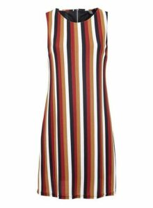 Womens *Izabel London Wine Striped Shift Dress- Wine, Wine