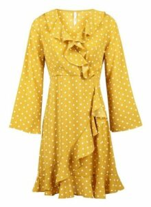 Womens *Izabel London Yellow Polka Dot Wrap Dress- Yellow, Yellow