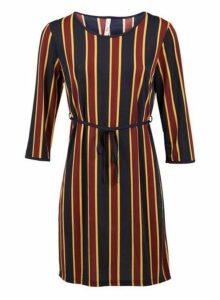 Womens *Izabel London Navy Striped Tie Waist Shift Dress- Navy, Navy