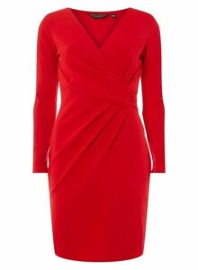 Womens **Red Wrap Top Bodycon Dress- Red, Red