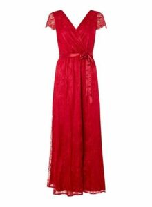 Womens **Showcase 'Isla' Cranberry Lace Maxi Dress- Red, Red