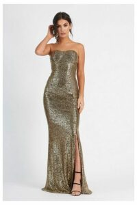 Womens **Sequin Bandeau Fishtail Maxi Dress By Club L - Gold, Gold