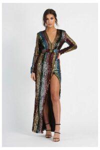 Womens **Stripe Sequin Wrap Front Maxi Dress By Club L - Multi, Multi