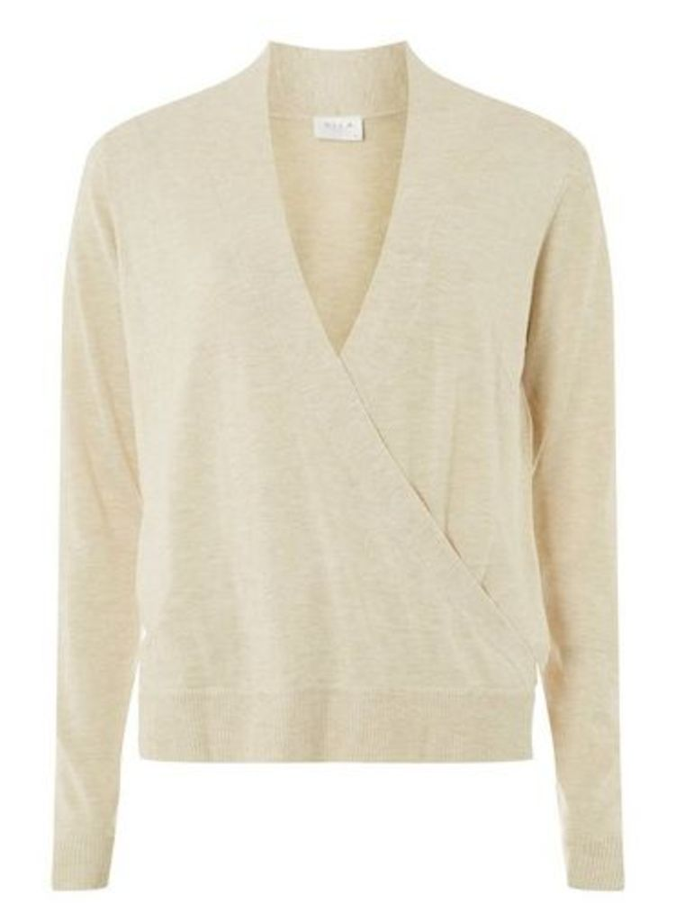 Womens **Vila Cream Natural Wrap Knitted Top- White, White