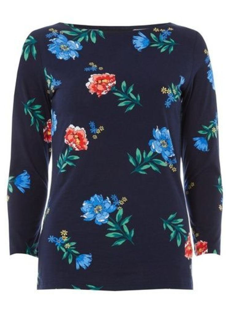Womens Navy Floral Print Top- Unspecified, Unspecified