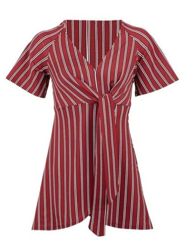 Womens *Izabel London Red Striped Tie Front Top- Red, Red