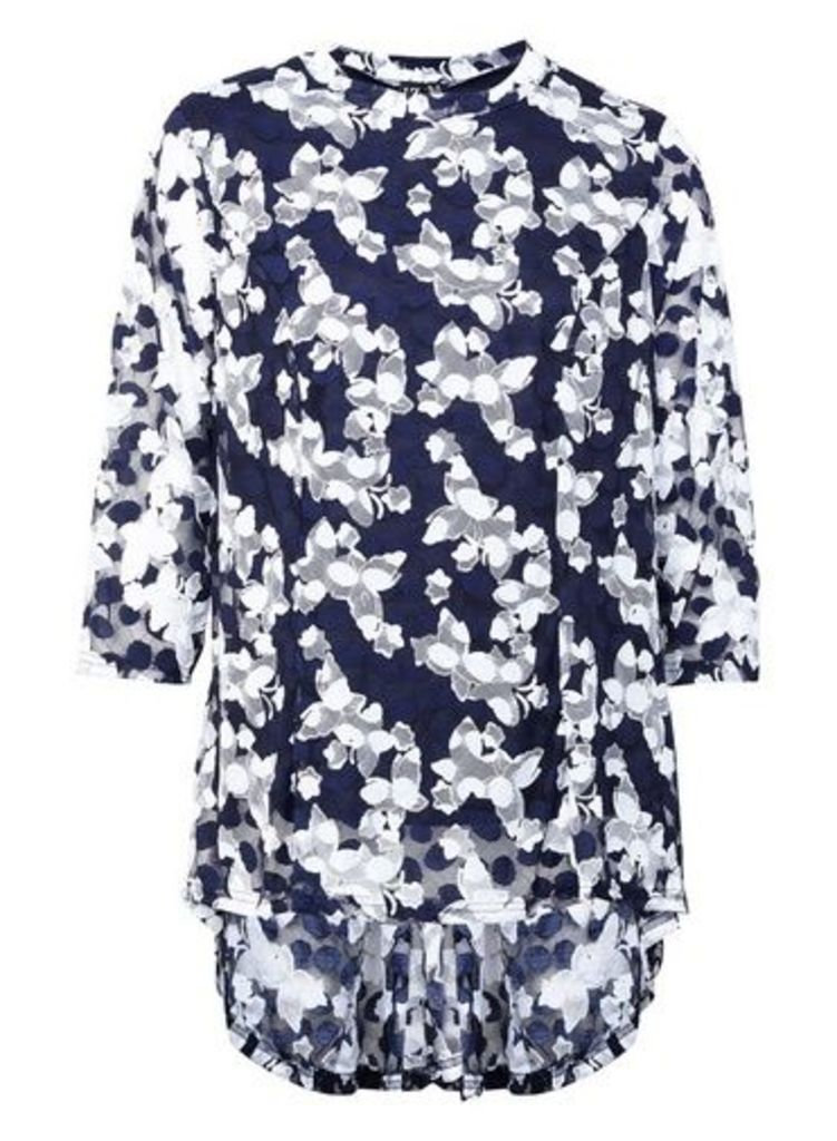 Womens *Izabel London Navy Butterfly Print Peplum Blouse- Navy, Navy