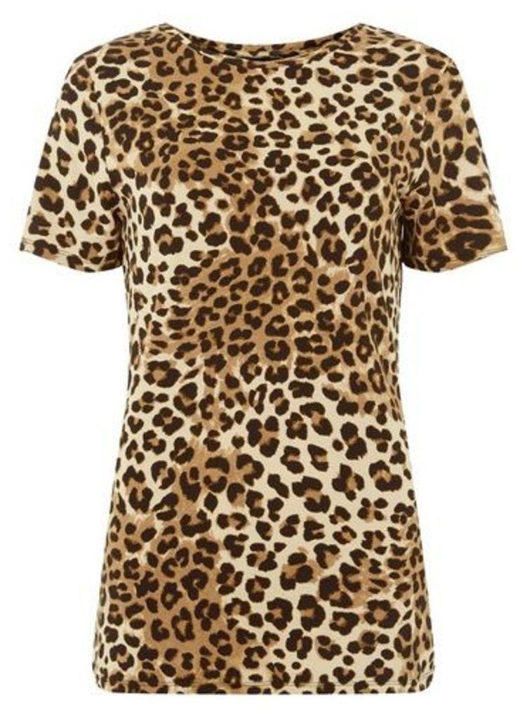Womens **Tall Brown Leopard Print T-Shirt- Multi Colour, Multi Colour